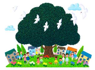 街イラスト/大きな木に人々が集う街のイラスト素材 [FYI01683120]