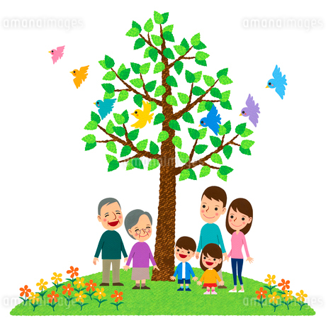 小鳥が舞う木の下に立つ三世代家族のイラスト素材 [FYI01683123]