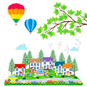 気球とハトが飛ぶ人々が集う街のイラスト素材 [FYI01683130]