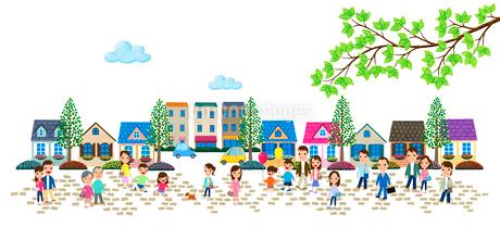 石畳の住宅街と人々のイラスト素材 [FYI01683181]