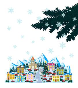 雪景色のクリスマスの街並のイラスト素材 [FYI01683202]