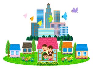 郊外の住宅地に住む家族のイラスト素材 [FYI01683230]