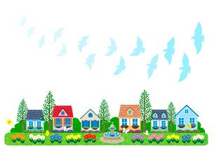 街イラスト/鳩が舞う噴水のある住宅街のイラスト素材 [FYI01683239]
