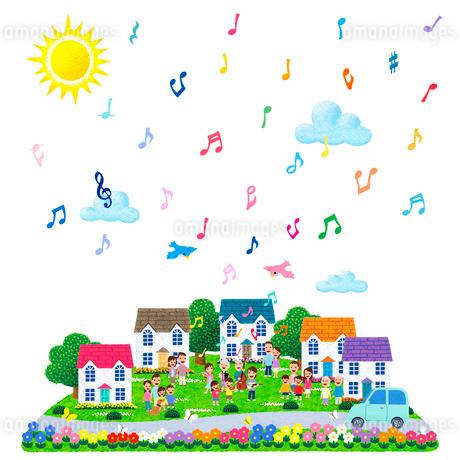 楽器を演奏する家族に人々が集う街のイラスト素材 [FYI01683245]