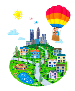 街イラスト/気球に乗った家族と街のイラスト素材 [FYI01683258]