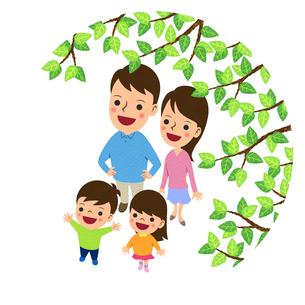 枝越しに空を見上げる二世代家族のイラスト素材 [FYI01683275]