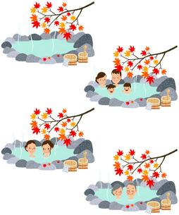 紅葉の温泉・露天風呂のイラスト素材 [FYI01683300]
