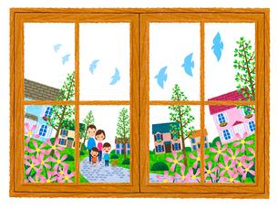 窓越しに見る住宅街を散歩する家族のイラスト素材 [FYI01683315]