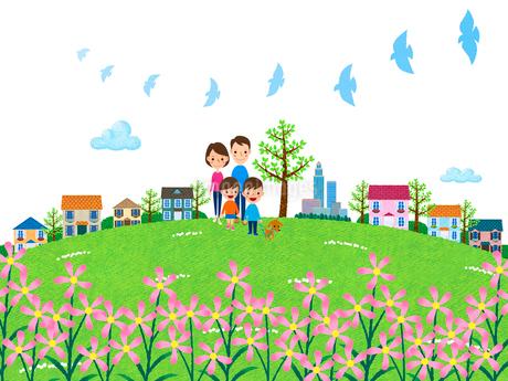 花咲く丘を散歩する家族のイラスト素材 [FYI01683326]