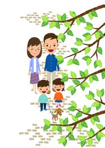 犬の散歩をする家族のイラスト素材 [FYI01683346]