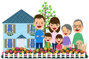 庭の花壇の前に並んだ三世代家族のイラスト素材 [FYI01683348]