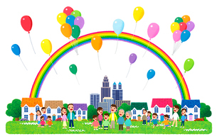 街イラスト/虹がかかり風船が舞う街のイラスト素材 [FYI01683357]
