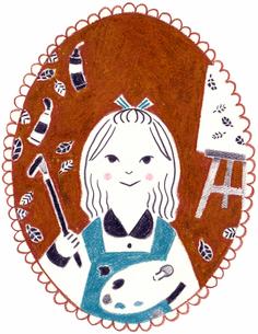 カレンダー 11月 油絵を描く女の子のイラスト素材 [FYI01683372]
