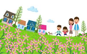 野花が咲く住宅街を散歩する家族のイラスト素材 [FYI01683456]