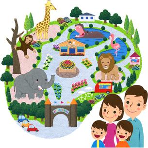 家族で動物園のイラスト素材 [FYI01683509]