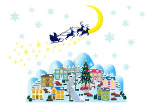 サンタのプレゼントと月夜のクリスマスの街のイラスト素材 [FYI01683517]