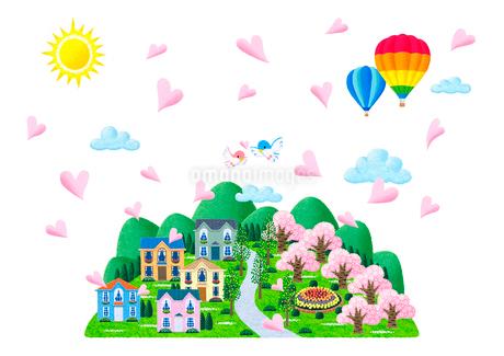 桜咲く春の街のイラスト素材 [FYI01683545]