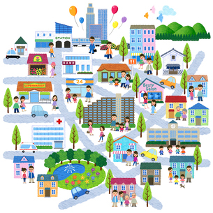 街と人々のイラストマップのイラスト素材 [FYI01683570]