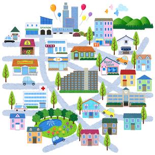 街のイラストマップのイラスト素材 [FYI01683591]