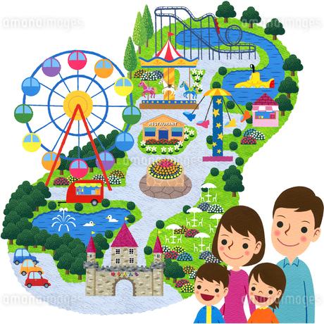 家族で遊園地のイラスト素材 [FYI01683629]