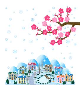 梅と雪の降る街並のイラスト素材 [FYI01683697]