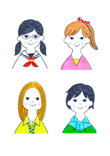 様々なタイプの10代の女の子4人のイラスト素材 [FYI01683756]