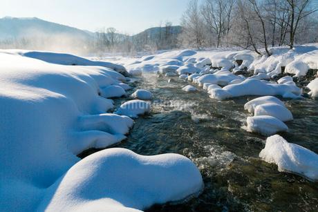 白馬村の雪景色の写真素材 [FYI01683869]