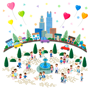 噴水の広場がある街と人々のイラスト素材 [FYI01684094]