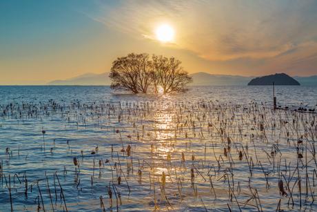 湖北町の夕日の写真素材 [FYI01684319]