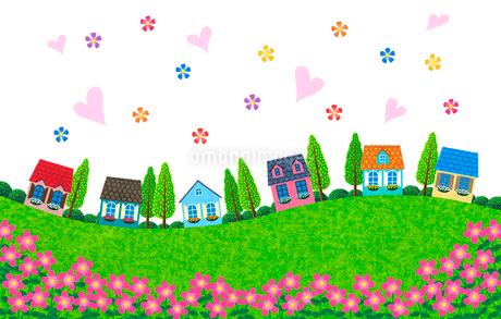 カラフルな家が建ち並ぶ住宅街のイラスト素材 [FYI01684322]