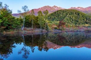 乗鞍高原まいめの池と乗鞍岳の写真素材 [FYI01684503]