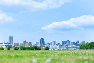 芝生と街並みの写真素材 [FYI01685845]