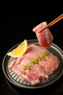 鉄板に並べた焼肉用肉の写真素材 [FYI01687624]