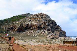 喜望峰の表示板と半島の写真素材 [FYI01688855]