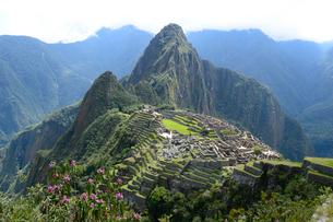 マチュピチュ遺跡の全体像と周りの山岳の写真素材 [FYI01689553]