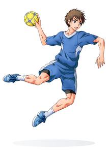 ハンドボールをする少年(背景なし)のイラスト素材 [FYI01689968]