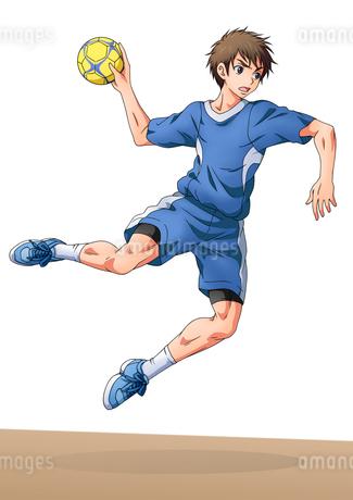 ハンドボールをする少年のイラスト素材 [FYI01689974]