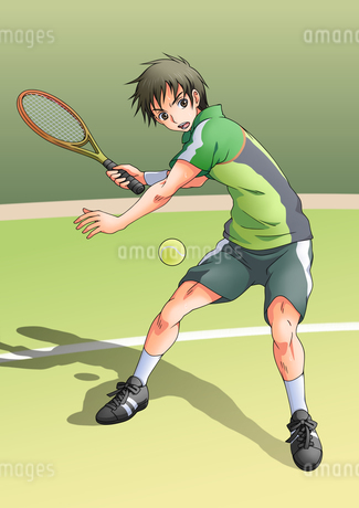 テニスをする少年のイラスト素材 [FYI01690196]