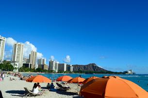 ワイキキビーチの砂浜のビーチパラソルの写真素材 [FYI01690850]