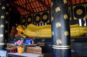 寺院のワット・チェディ・ルアンの金色の涅槃仏の写真素材 [FYI01691274]