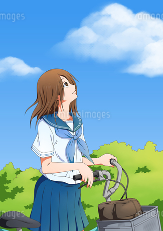 自転車を降りて空を見上げる女子学生のイラスト素材 [FYI01691426]