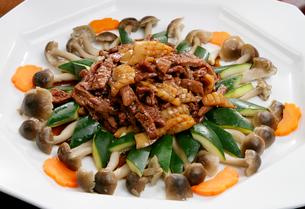 牛肉とイカのピリ辛炒め野菜添えの写真素材 [FYI01691794]