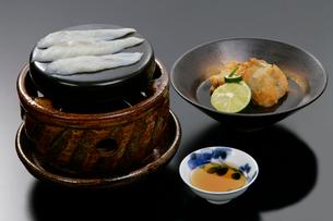日本料理、ふぐの唐揚げと焼きふぐ料理の写真素材 [FYI01691913]