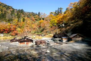 秋の湯ノ湖の源泉の写真素材 [FYI01692160]