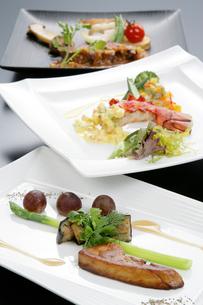 洋食イメージ フォアグラと伊勢エビとアスパラの料理の写真素材 [FYI01692182]