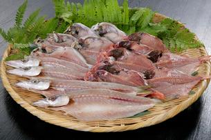 ザルにのせた魚の干物の写真素材 [FYI01693764]