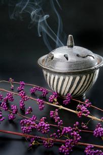 紫式部とお香を焚いた香炉の写真素材 [FYI01693799]