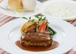 ハンバーグステーキのデミグラスソース野菜添えの写真素材 [FYI01693864]