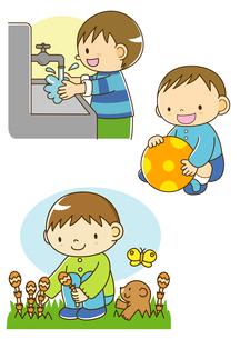 手を洗う男の子とボール遊びと春の野原でつくしをつむ子のイラスト素材 [FYI01693879]