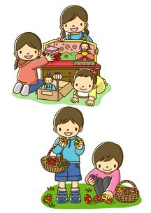 おひなさまを飾る姉妹とイースターエッグを探す子供たちのイラスト素材 [FYI01693884]